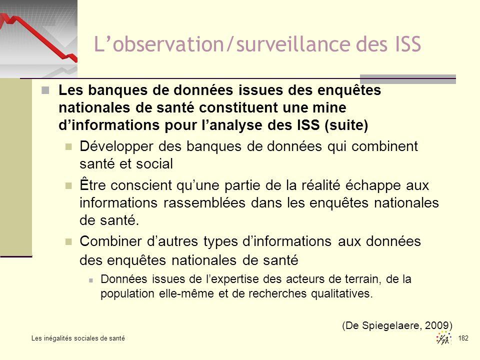 Les inégalités sociales de santé 182 Lobservation/surveillance des ISS Les banques de données issues des enquêtes nationales de santé constituent une
