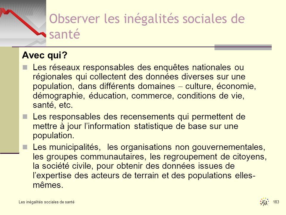 Les inégalités sociales de santé 183 Observer les inégalités sociales de santé Avec qui? Les réseaux responsables des enquêtes nationales ou régionale