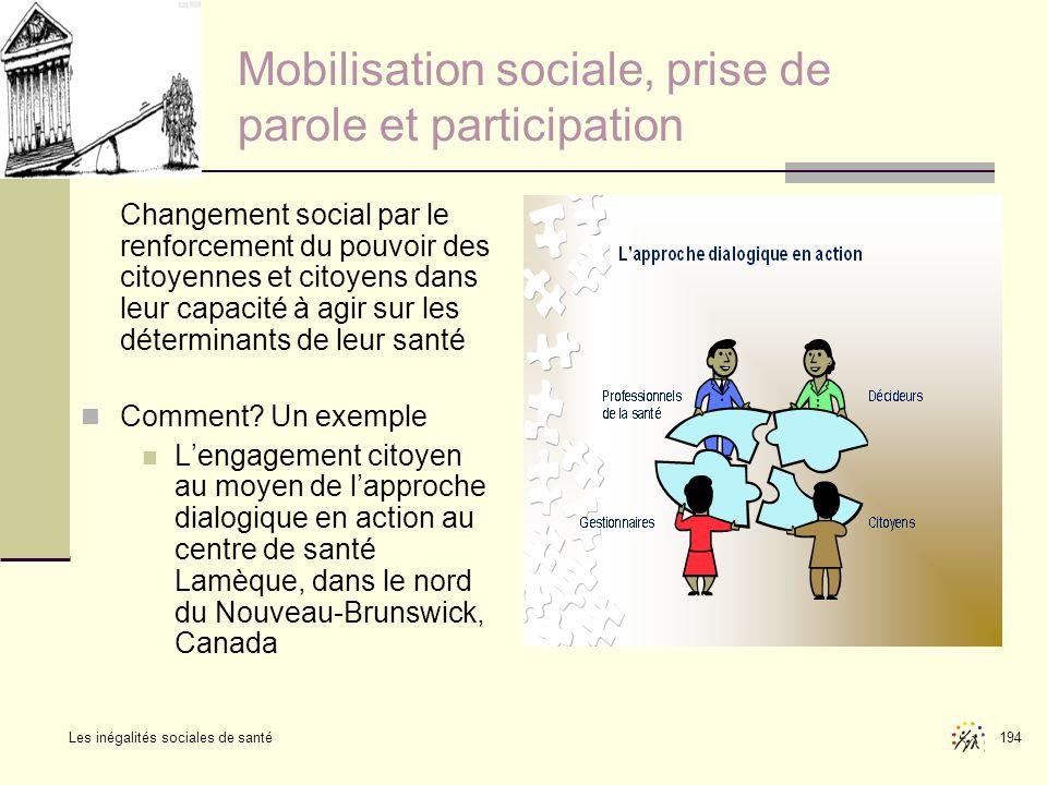 Les inégalités sociales de santé 194 Mobilisation sociale, prise de parole et participation Changement social par le renforcement du pouvoir des citoy