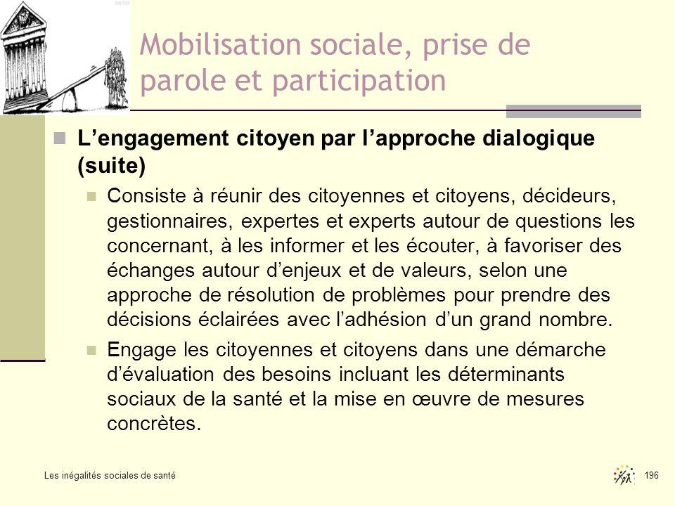 Les inégalités sociales de santé 196 Mobilisation sociale, prise de parole et participation Lengagement citoyen par lapproche dialogique (suite) Consi