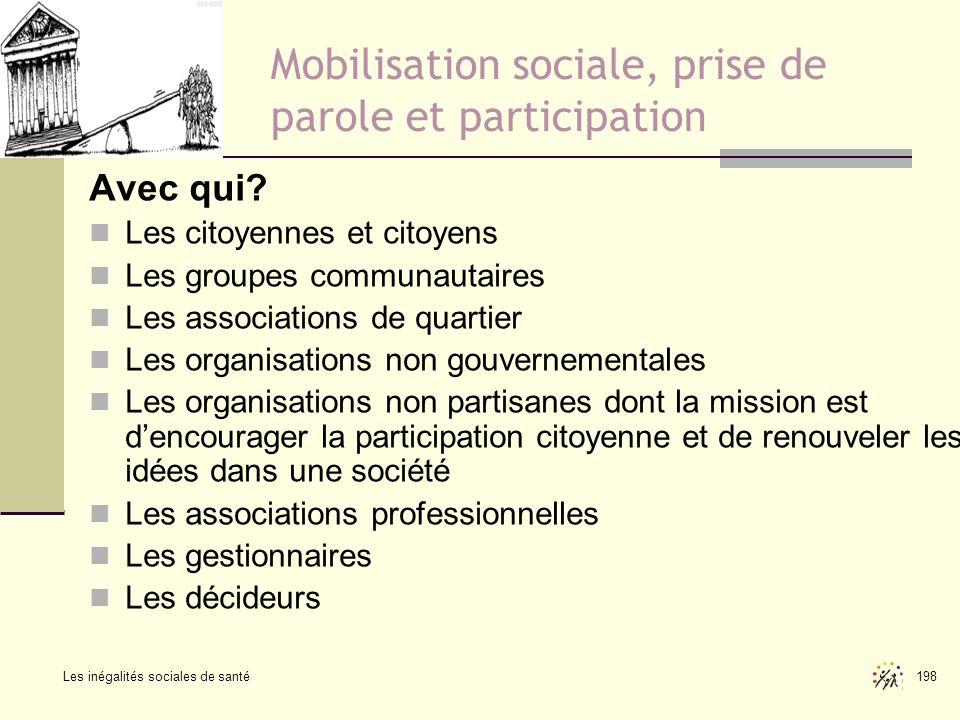 Les inégalités sociales de santé 198 Mobilisation sociale, prise de parole et participation Avec qui? Les citoyennes et citoyens Les groupes communaut