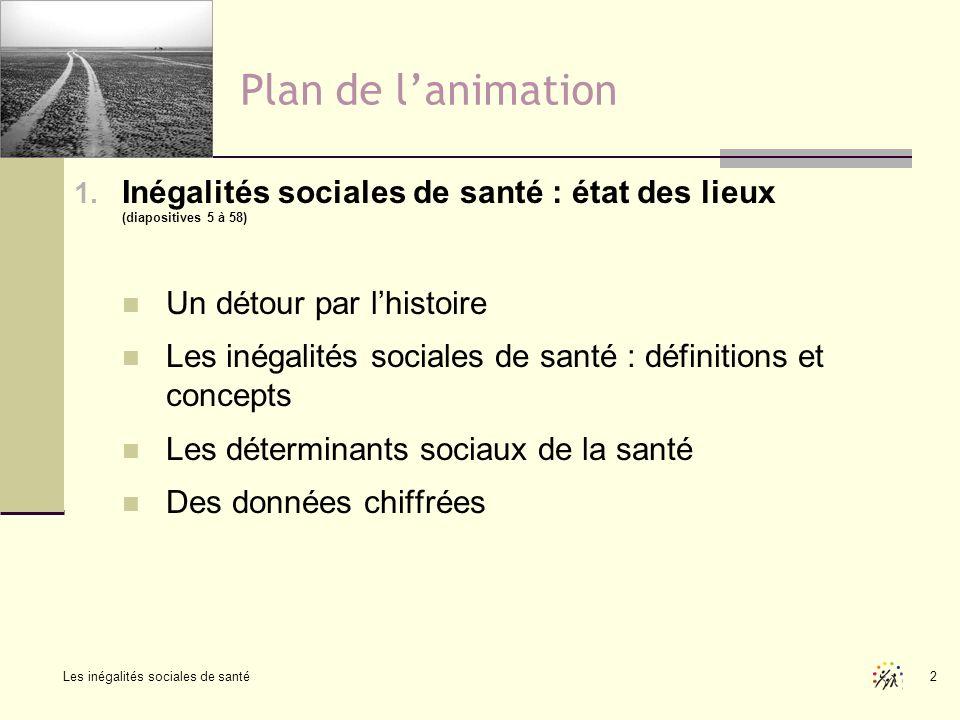 Les inégalités sociales de santé 2 Plan de lanimation 1. Inégalités sociales de santé : état des lieux (diapositives 5 à 58) Un détour par lhistoire L