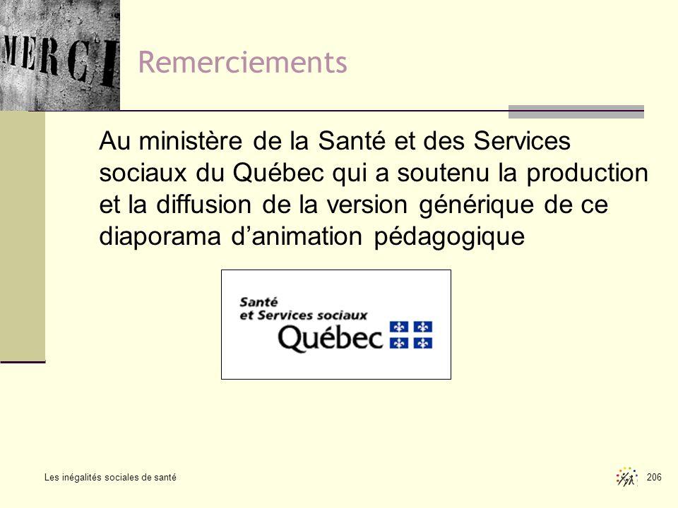 Les inégalités sociales de santé 206 Remerciements Au ministère de la Santé et des Services sociaux du Québec qui a soutenu la production et la diffus