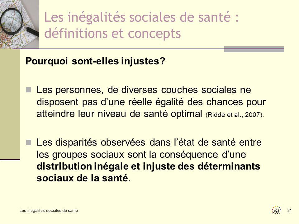 Les inégalités sociales de santé 21 Les inégalités sociales de santé : définitions et concepts Pourquoi sont-elles injustes? Les personnes, de diverse