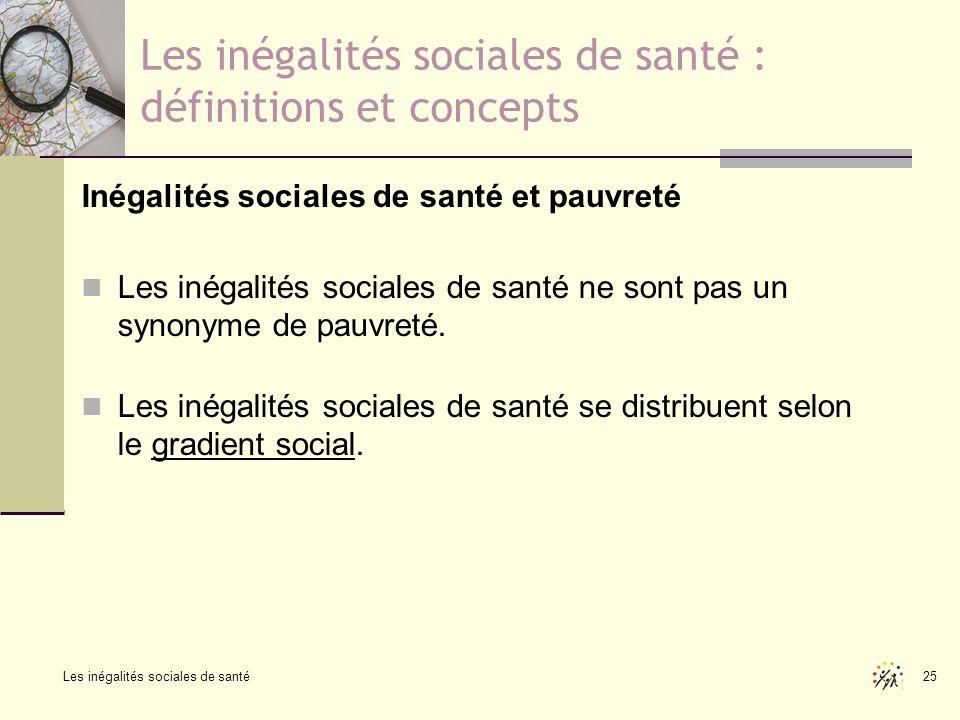 Les inégalités sociales de santé 25 Les inégalités sociales de santé : définitions et concepts Inégalités sociales de santé et pauvreté Les inégalités