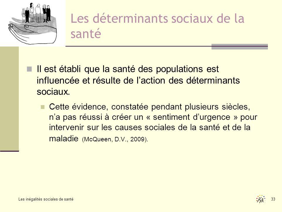 Les inégalités sociales de santé 33 Les déterminants sociaux de la santé Il est établi que la santé des populations est influencée et résulte de lacti