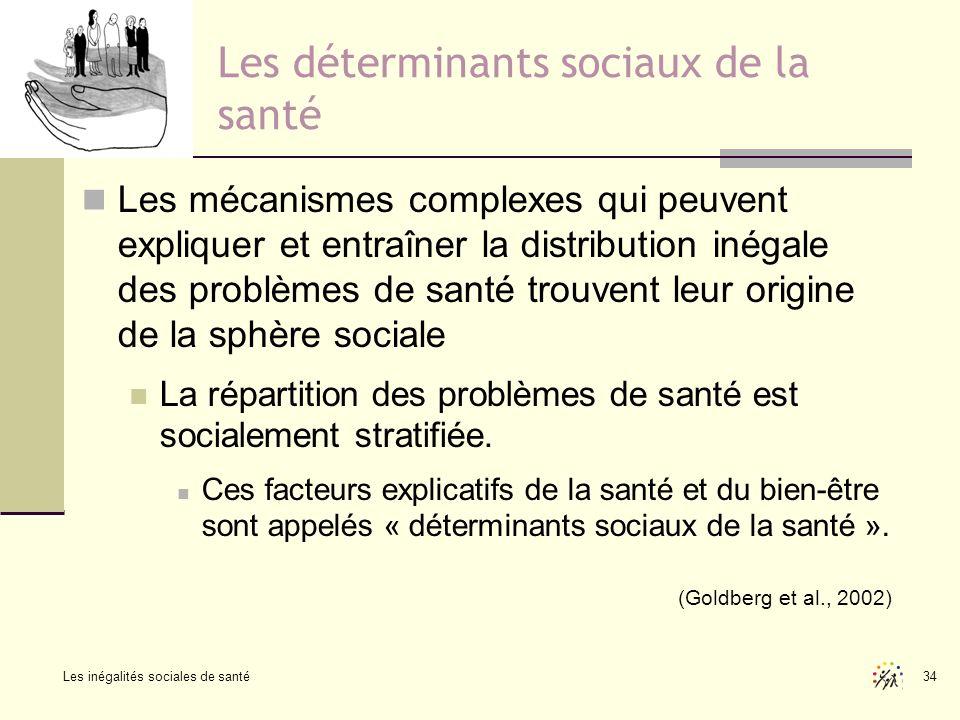 Les inégalités sociales de santé 34 Les déterminants sociaux de la santé Les mécanismes complexes qui peuvent expliquer et entraîner la distribution i