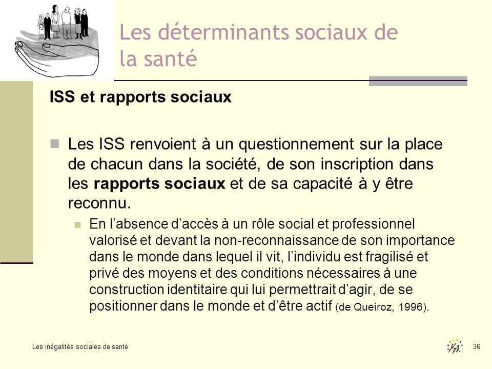 Les inégalités sociales de santé 36 Les déterminants sociaux de la santé ISS et rapports sociaux Les ISS renvoient à un questionnement sur la place de