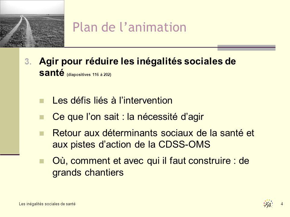 Les inégalités sociales de santé 4 Plan de lanimation 3. Agir pour réduire les inégalités sociales de santé (diapositives 116 à 202) Les défis liés à