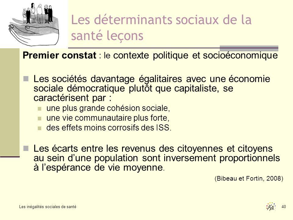 Les inégalités sociales de santé 40 Les déterminants sociaux de la santé leçons Premier constat : le contexte politique et socioéconomique Les société