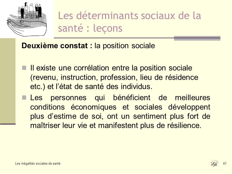 Les inégalités sociales de santé 41 Les déterminants sociaux de la santé : leçons Deuxième constat : la position sociale Il existe une corrélation ent