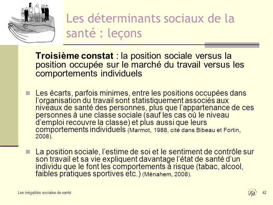 Les inégalités sociales de santé 42 Les déterminants sociaux de la santé : leçons Troisième constat : la position sociale versus la position occupée s