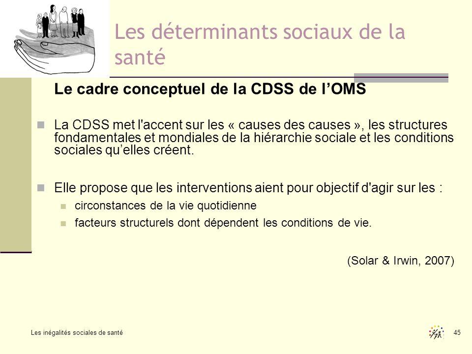 Les inégalités sociales de santé 45 Les déterminants sociaux de la santé Le cadre conceptuel de la CDSS de lOMS La CDSS met l'accent sur les « causes