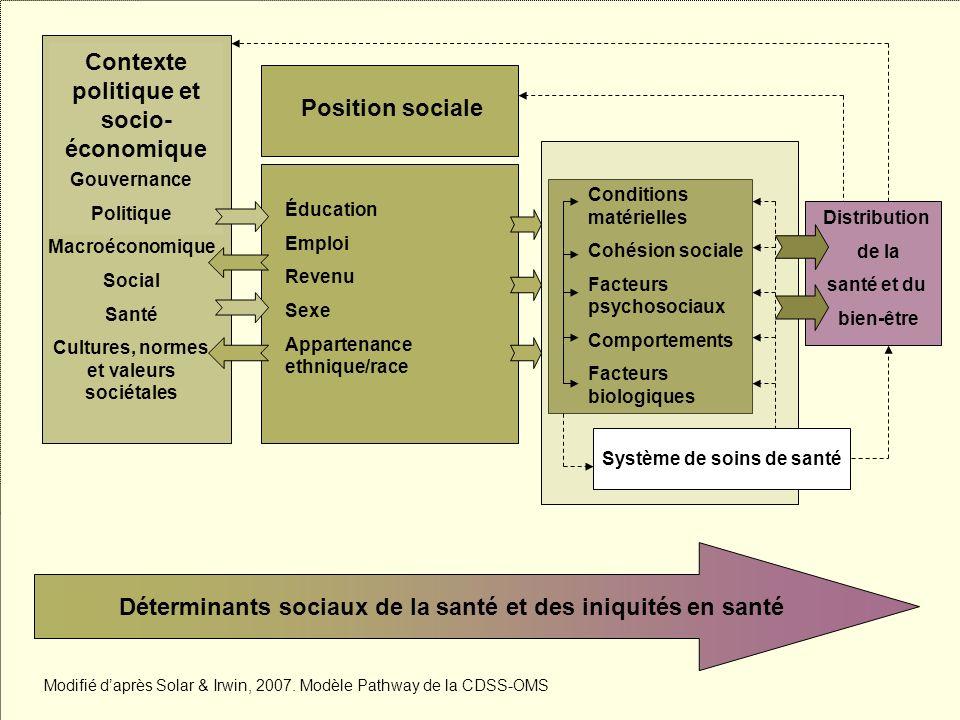 Les inégalités sociales de santé 46 Contexte politique et socio- économique Gouvernance Politique Macroéconomique Social Santé Cultures, normes et val