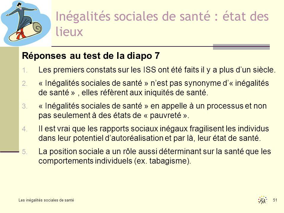 Les inégalités sociales de santé 51 Inégalités sociales de santé : état des lieux Réponses au test de la diapo 7 1. Les premiers constats sur les ISS
