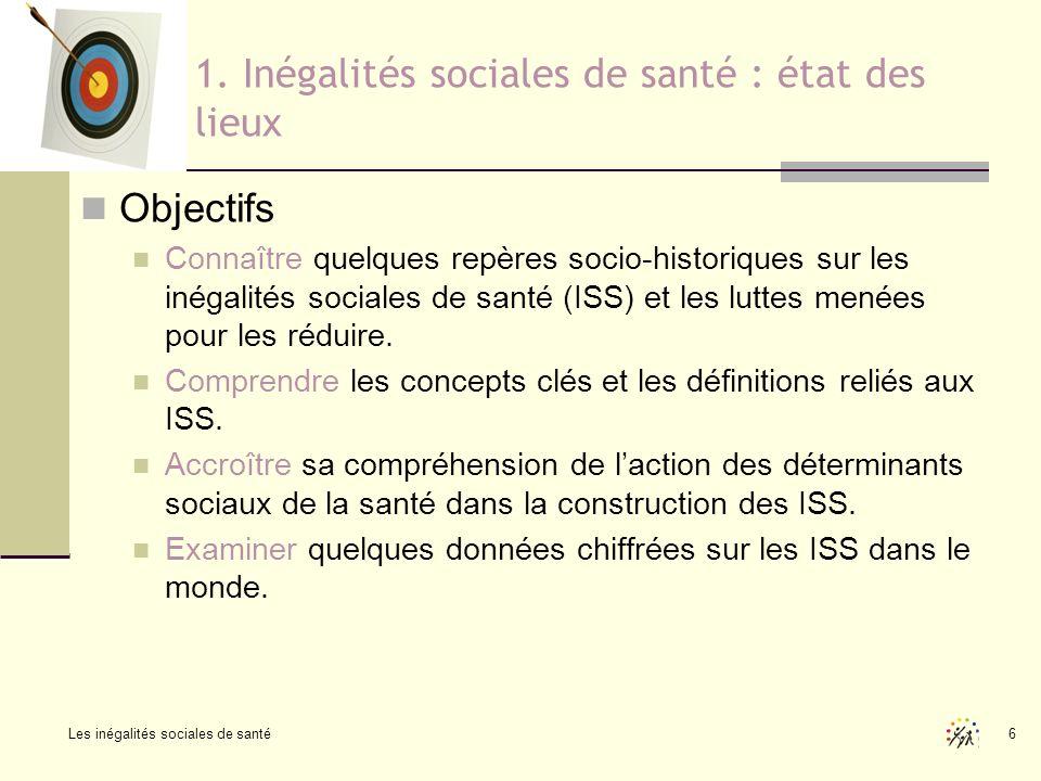 Les inégalités sociales de santé 6 1. Inégalités sociales de santé : état des lieux Objectifs Connaître quelques repères socio-historiques sur les iné