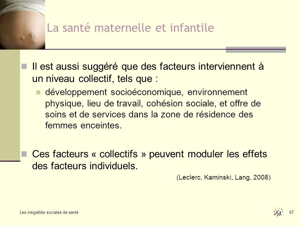 Les inégalités sociales de santé 67 La santé maternelle et infantile Il est aussi suggéré que des facteurs interviennent à un niveau collectif, tels q