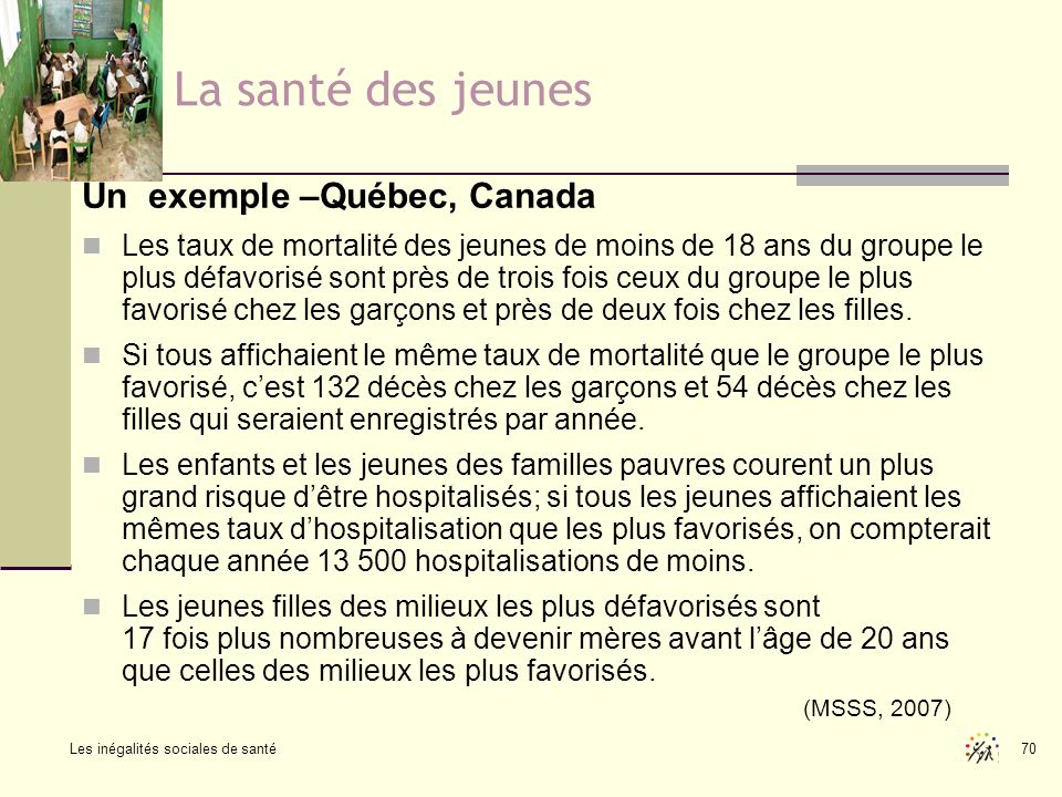 Les inégalités sociales de santé 70 La santé des jeunes Un exemple –Québec, Canada Les taux de mortalité des jeunes de moins de 18 ans du groupe le pl