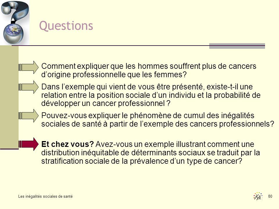 Les inégalités sociales de santé 80 Questions Comment expliquer que les hommes souffrent plus de cancers dorigine professionnelle que les femmes? Dans