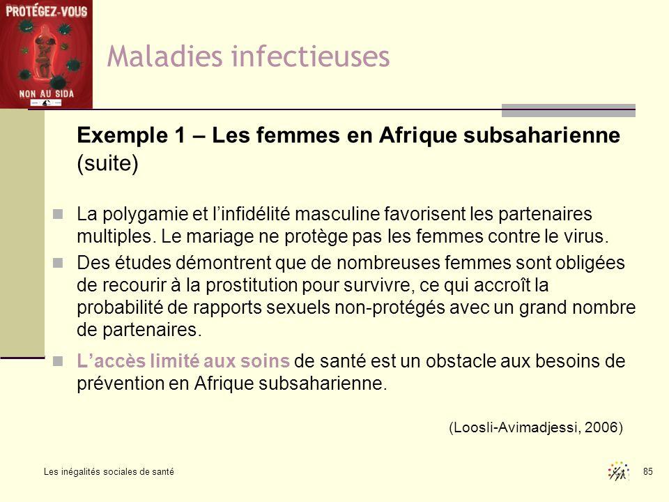 Les inégalités sociales de santé 85 Maladies infectieuses Exemple 1 – Les femmes en Afrique subsaharienne (suite) La polygamie et linfidélité masculin