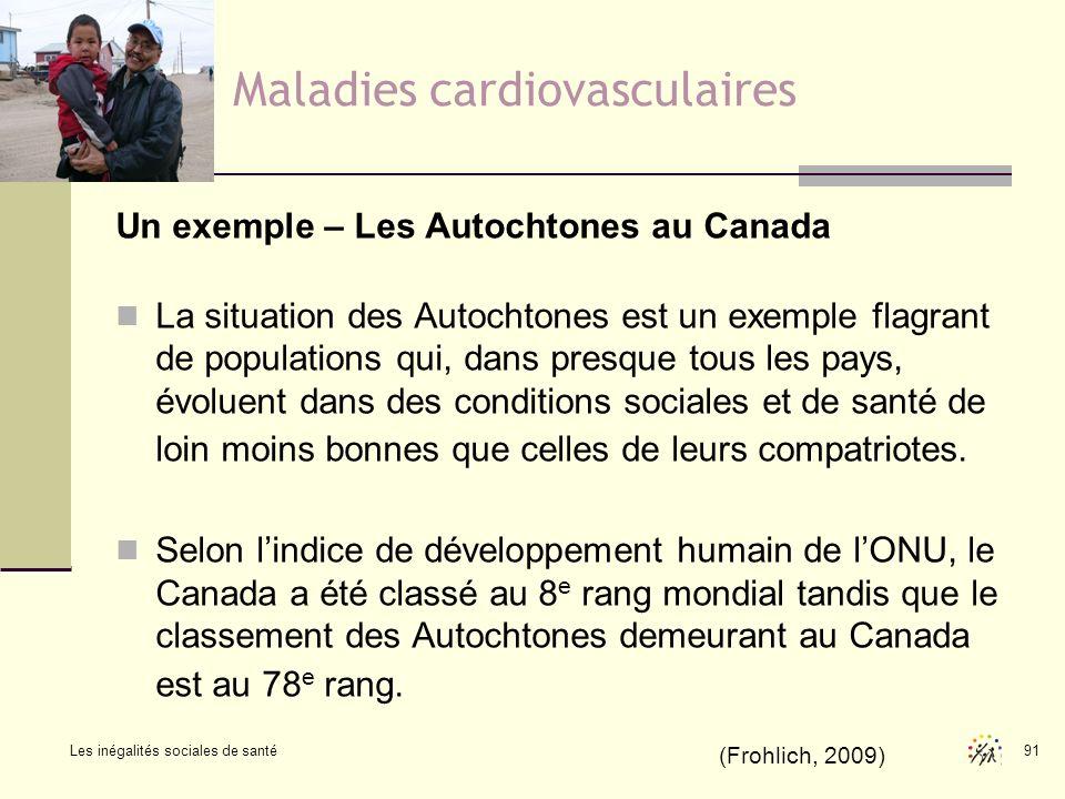 Les inégalités sociales de santé 91 Maladies cardiovasculaires Un exemple – Les Autochtones au Canada La situation des Autochtones est un exemple flag
