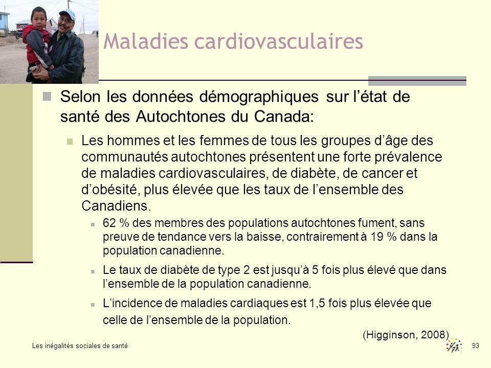 Les inégalités sociales de santé 93 Maladies cardiovasculaires Selon les données démographiques sur létat de santé des Autochtones du Canada: Les homm
