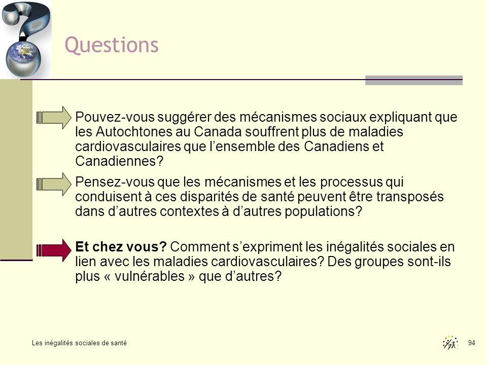 Les inégalités sociales de santé 94 Questions Pouvez-vous suggérer des mécanismes sociaux expliquant que les Autochtones au Canada souffrent plus de m