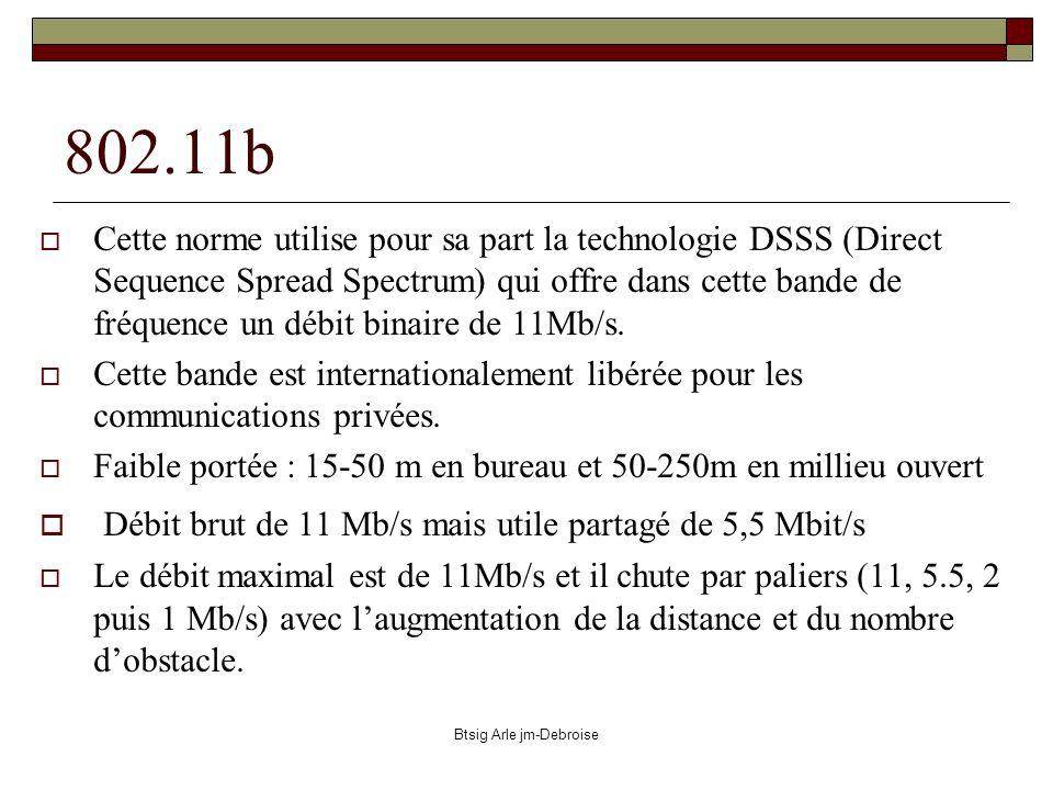 Btsig Arle jm-Debroise 802.11b Cette norme utilise pour sa part la technologie DSSS (Direct Sequence Spread Spectrum) qui offre dans cette bande de fr