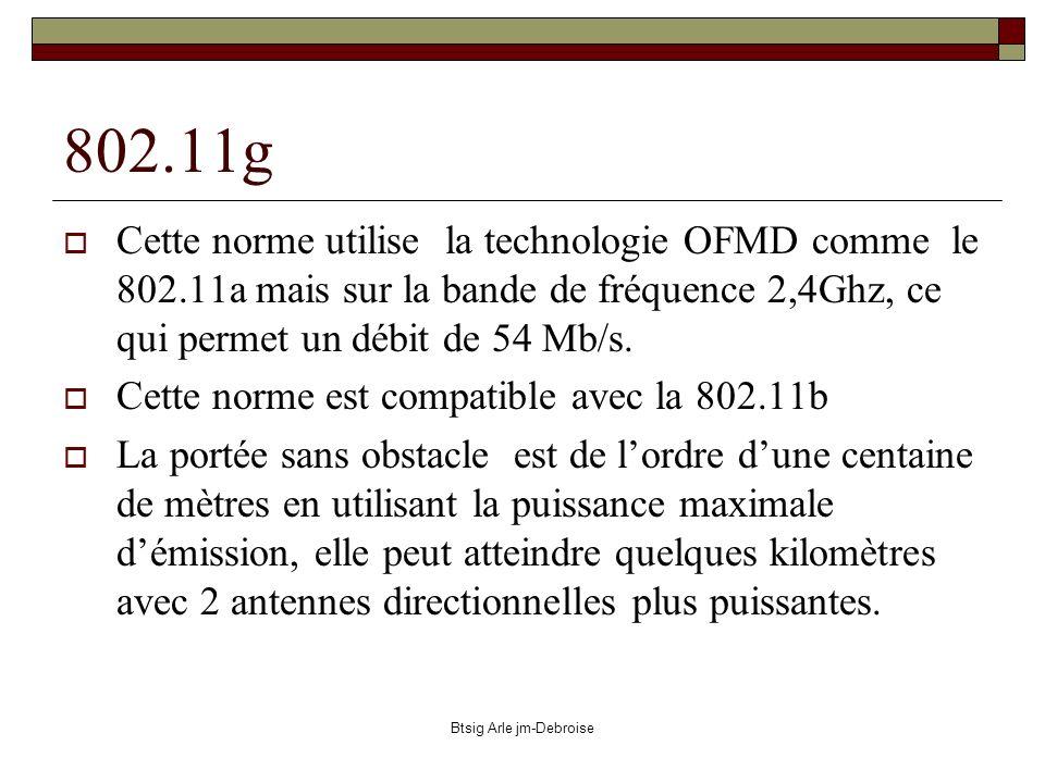 Btsig Arle jm-Debroise 802.11g Cette norme utilise la technologie OFMD comme le 802.11a mais sur la bande de fréquence 2,4Ghz, ce qui permet un débit