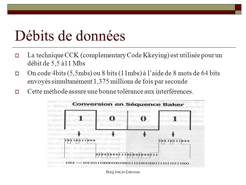 Btsig Arle jm-Debroise Débits de données La technique CCK (complementary Code Kkeying) est utilisée pour un débit de 5,5 à11 Mbs On code 4bits (5,5mbs