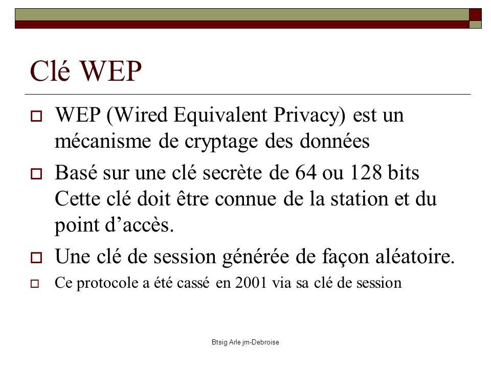 Btsig Arle jm-Debroise Clé WEP WEP (Wired Equivalent Privacy) est un mécanisme de cryptage des données Basé sur une clé secrète de 64 ou 128 bits Cett