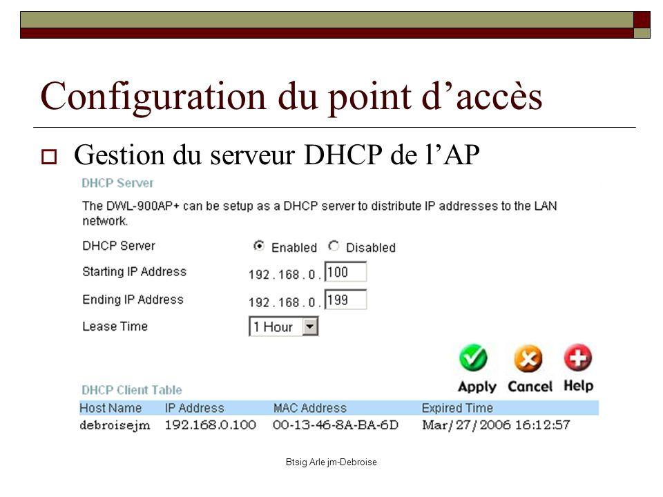 Btsig Arle jm-Debroise Configuration du point daccès Gestion du serveur DHCP de lAP