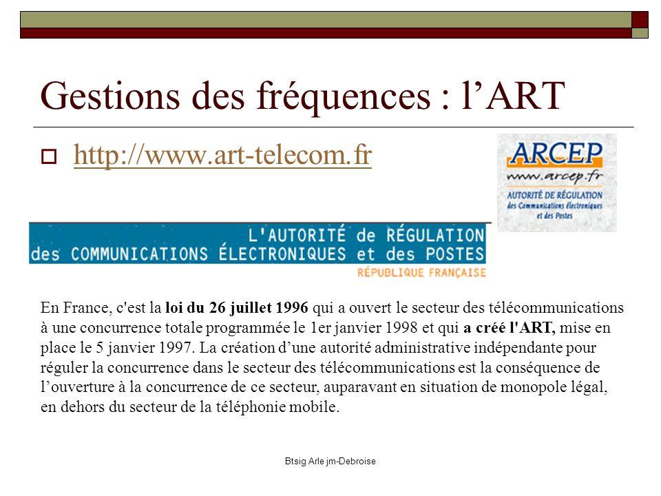 Btsig Arle jm-Debroise http://www.art-telecom.fr Gestions des fréquences : lART En France, c'est la loi du 26 juillet 1996 qui a ouvert le secteur des