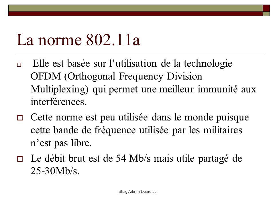 Btsig Arle jm-Debroise 802.11b Cette norme utilise pour sa part la technologie DSSS (Direct Sequence Spread Spectrum) qui offre dans cette bande de fréquence un débit binaire de 11Mb/s.