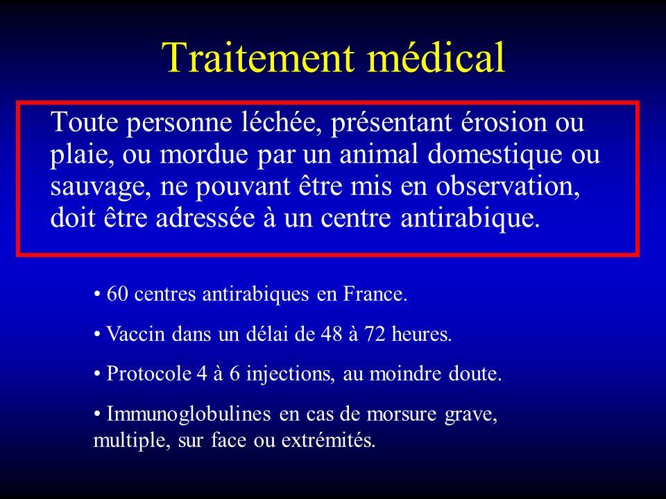 Traitement médical Toute personne léchée, présentant érosion ou plaie, ou mordue par un animal domestique ou sauvage, ne pouvant être mis en observati