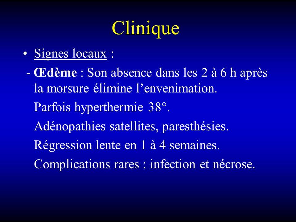 Clinique Signes locaux : - Œdème : Son absence dans les 2 à 6 h après la morsure élimine lenvenimation. Parfois hyperthermie 38°. Adénopathies satelli