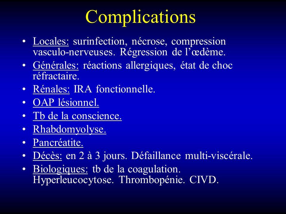 Complications Locales: surinfection, nécrose, compression vasculo-nerveuses. Régression de lœdème. Générales: réactions allergiques, état de choc réfr