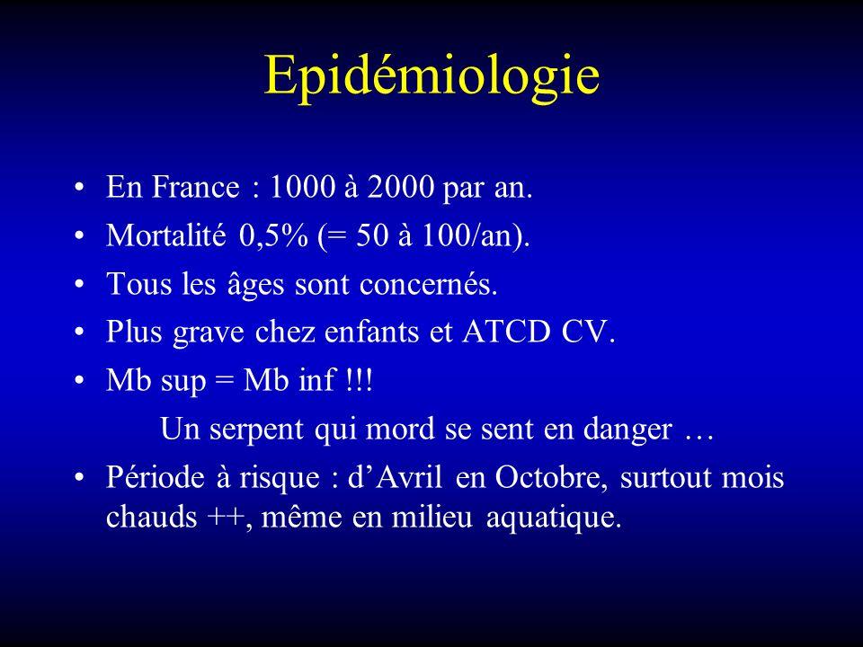 Epidémiologie En France : 1000 à 2000 par an. Mortalité 0,5% (= 50 à 100/an). Tous les âges sont concernés. Plus grave chez enfants et ATCD CV. Mb sup
