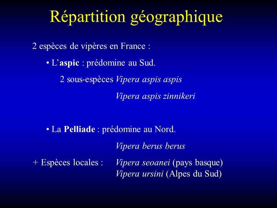 Répartition géographique 2 espèces de vipères en France : Laspic : prédomine au Sud. 2 sous-espècesVipera aspis aspis Vipera aspis zinnikeri La Pellia