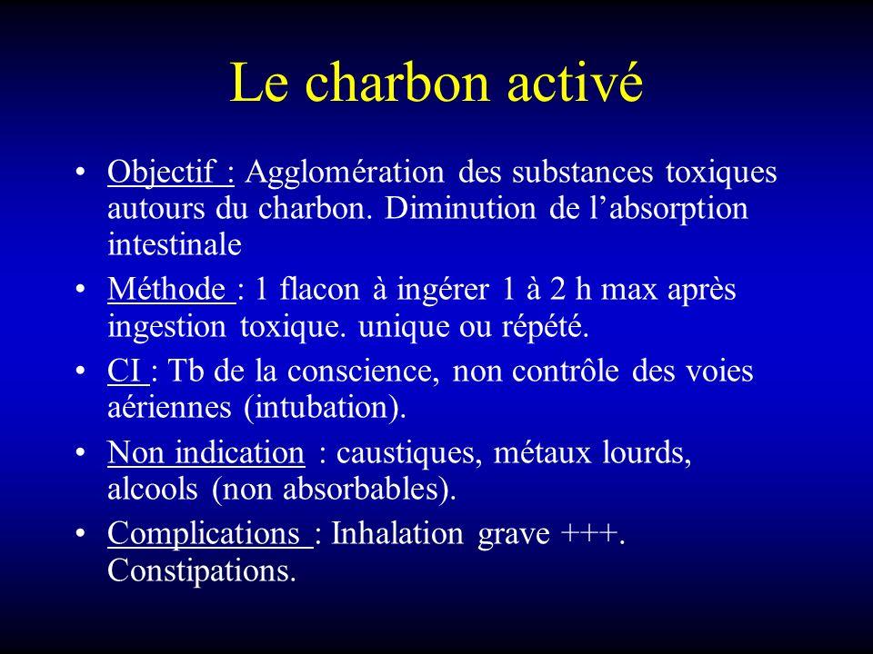 Le charbon activé Objectif : Agglomération des substances toxiques autours du charbon. Diminution de labsorption intestinale Méthode : 1 flacon à ingé