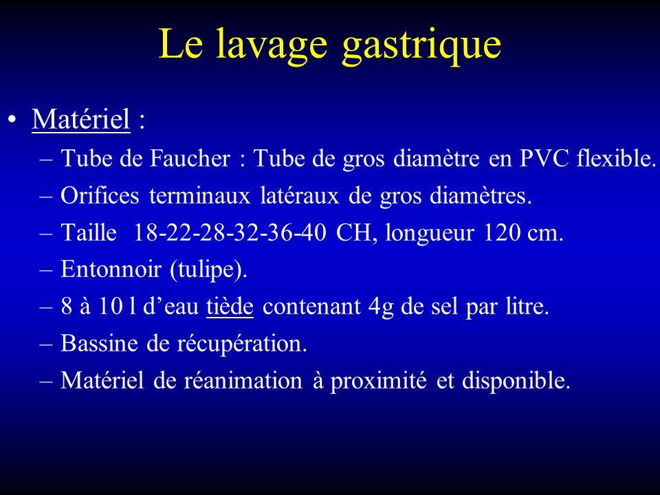 Le lavage gastrique Matériel : –Tube de Faucher : Tube de gros diamètre en PVC flexible. –Orifices terminaux latéraux de gros diamètres. –Taille 18-22