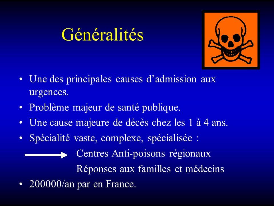Généralités Une des principales causes dadmission aux urgences. Problème majeur de santé publique. Une cause majeure de décès chez les 1 à 4 ans. Spéc