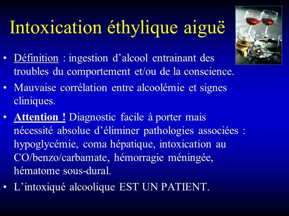 Intoxication éthylique aiguë Définition : ingestion dalcool entrainant des troubles du comportement et/ou de la conscience. Mauvaise corrélation entre