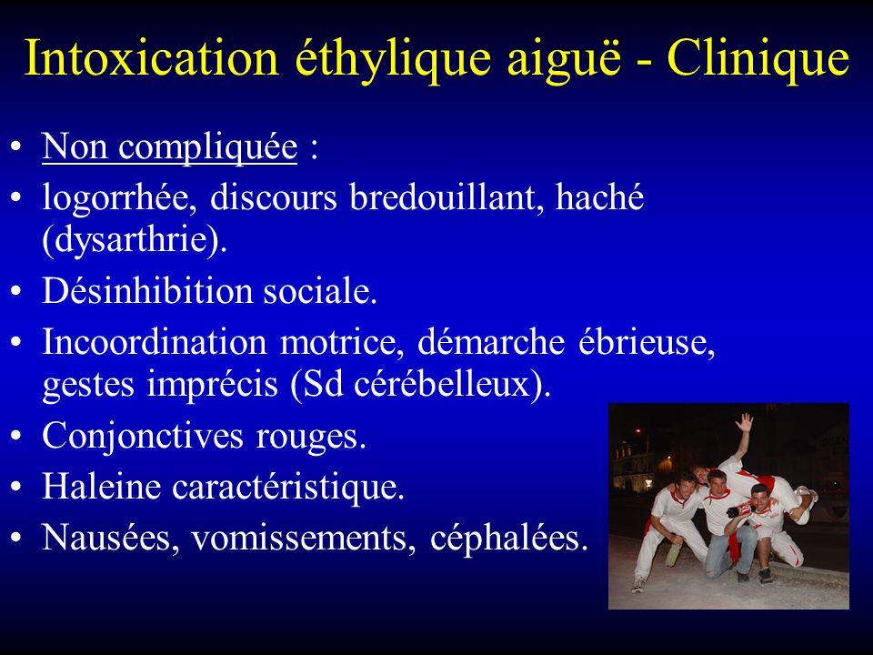 Intoxication éthylique aiguë - Clinique Non compliquée : logorrhée, discours bredouillant, haché (dysarthrie). Désinhibition sociale. Incoordination m