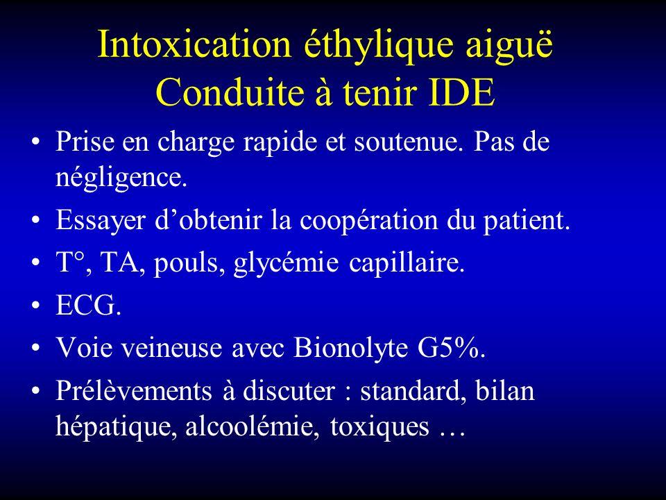 Intoxication éthylique aiguë Conduite à tenir IDE Prise en charge rapide et soutenue. Pas de négligence. Essayer dobtenir la coopération du patient. T