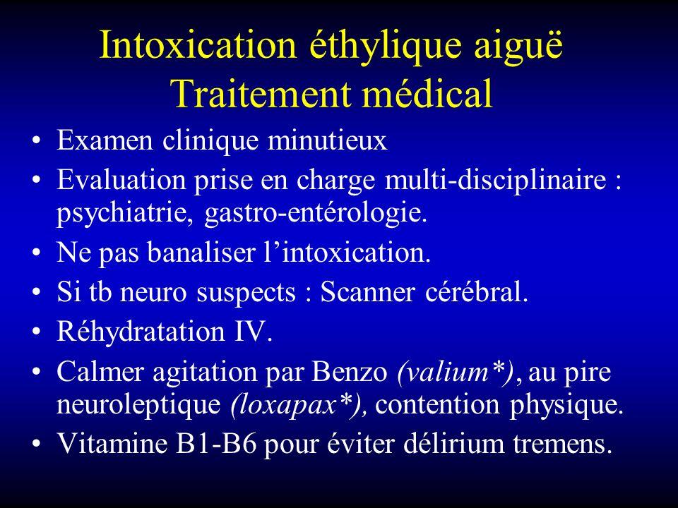 Intoxication éthylique aiguë Traitement médical Examen clinique minutieux Evaluation prise en charge multi-disciplinaire : psychiatrie, gastro-entérol