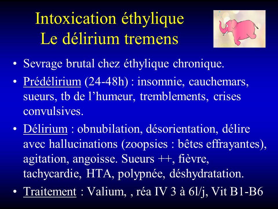 Intoxication éthylique Le délirium tremens Sevrage brutal chez éthylique chronique. Prédélirium (24-48h) : insomnie, cauchemars, sueurs, tb de lhumeur
