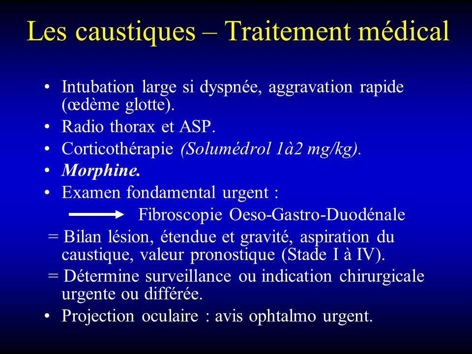 Les caustiques – Traitement médical Intubation large si dyspnée, aggravation rapide (œdème glotte). Radio thorax et ASP. Corticothérapie (Solumédrol 1