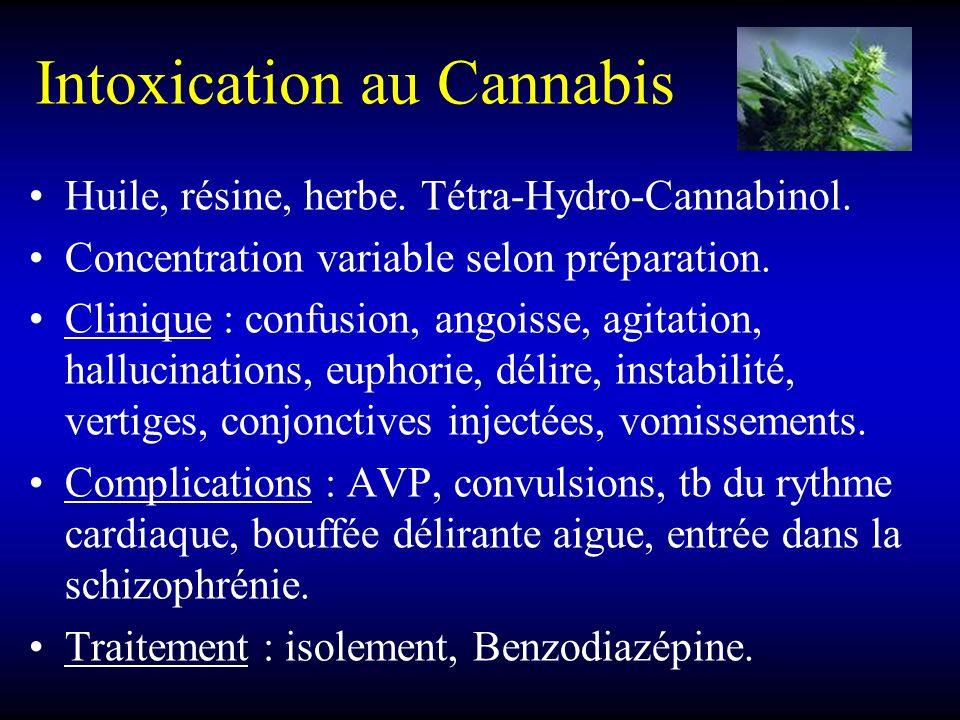Intoxication au Cannabis Huile, résine, herbe. Tétra-Hydro-Cannabinol. Concentration variable selon préparation. Clinique : confusion, angoisse, agita