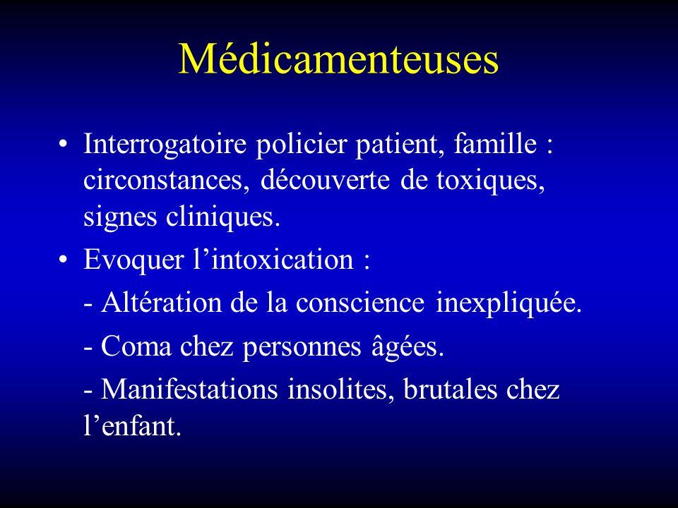 Médicamenteuses Interrogatoire policier patient, famille : circonstances, découverte de toxiques, signes cliniques. Evoquer lintoxication : - Altérati